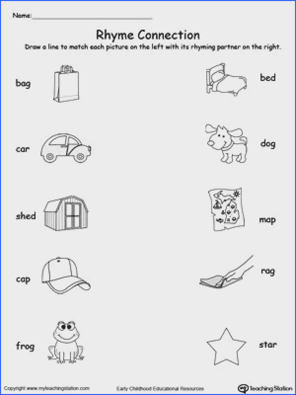 Rhyming Puzzles Kindergarten Phonics Worksheets Education Rhyming Pinterest