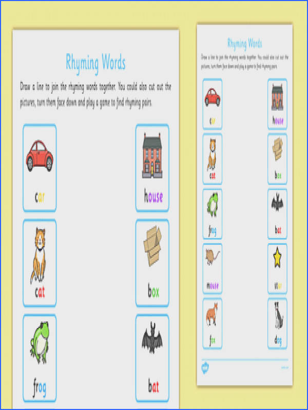 Rhyming Words Home Learning Worksheet Activity Sheet EYFS Early Years phonics