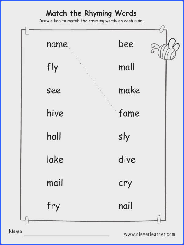 Rhyming Words Worksheet For