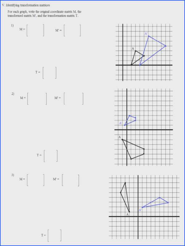 Math Plane Matrix Iii Coordinate Geometry Worksheets Translation Rotation Reflection Multiple Transformations Worksheet