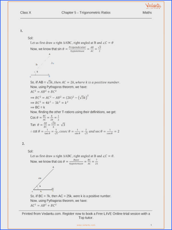 RS Agarwal Class 10 Solutions Chapter 05 Trignometric Ratios part 1
