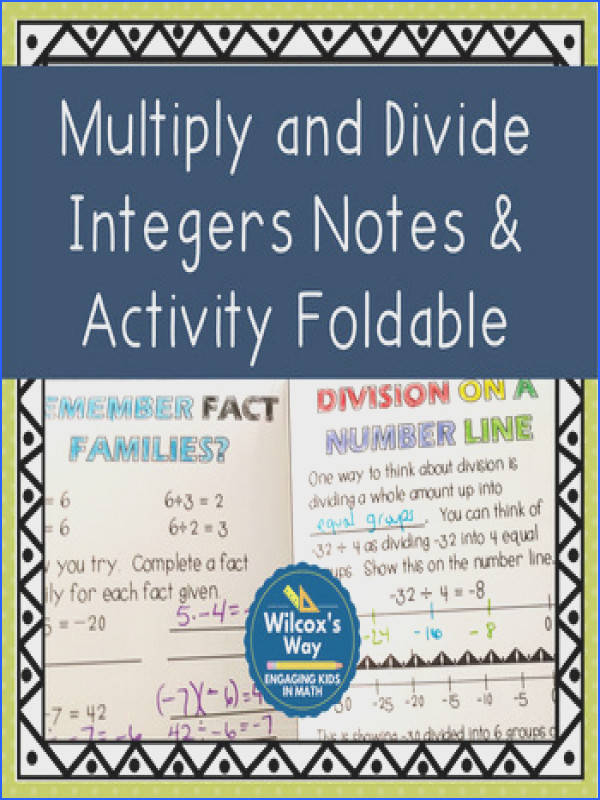 Multiply and Divide Integers Activity Notes Foldable and Practice