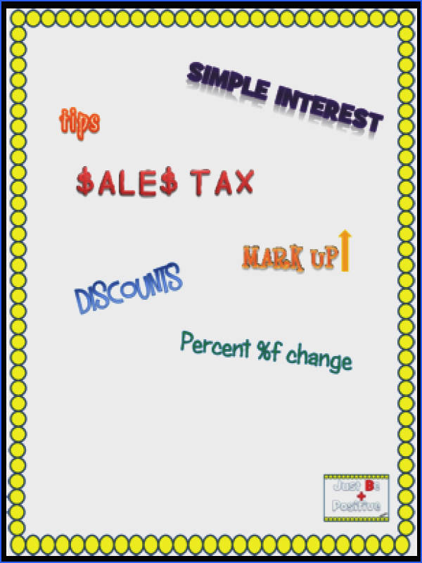 Sales tax tips percent of change from JustBePositive on TeachersNotebook