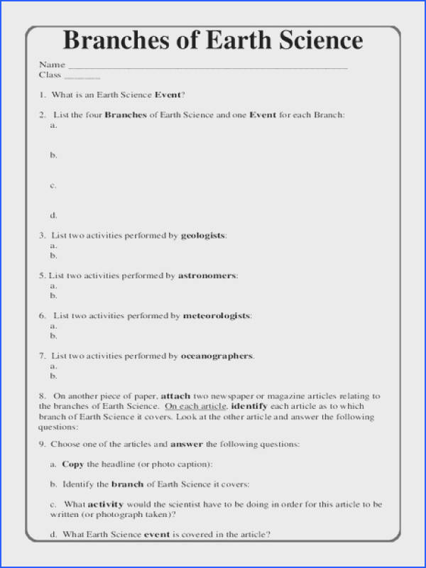 Branches of Earth Science Worksheet for 5th 10th Grade