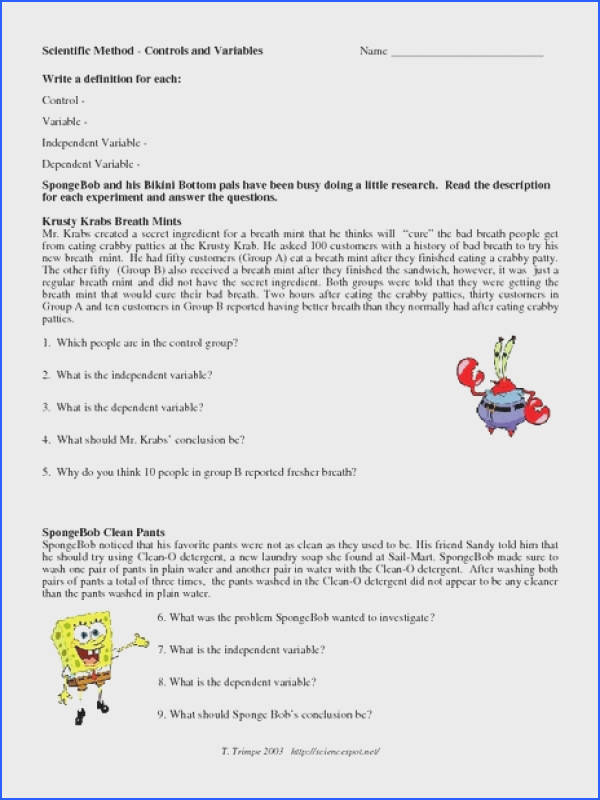 Scientific Method Control and Variables Worksheet