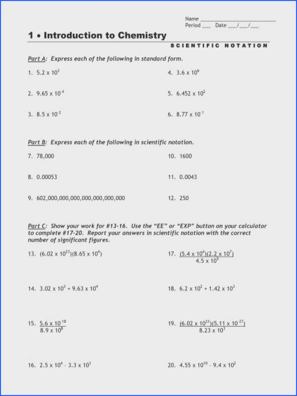 Scientific Notation Worksheet Resume Template