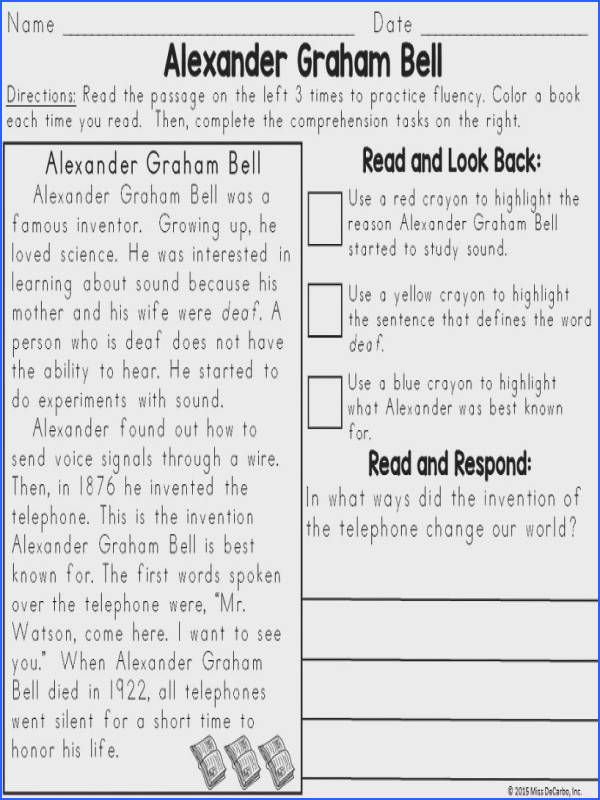 Useful Second Grade Nonfiction Passages For Your Text Evidence Reading Passages Biography Edition Miss Decarbo