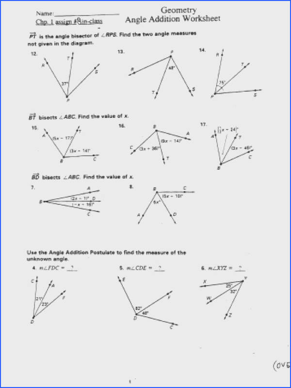 Angle Addition Postulate Worksheet Mychaume