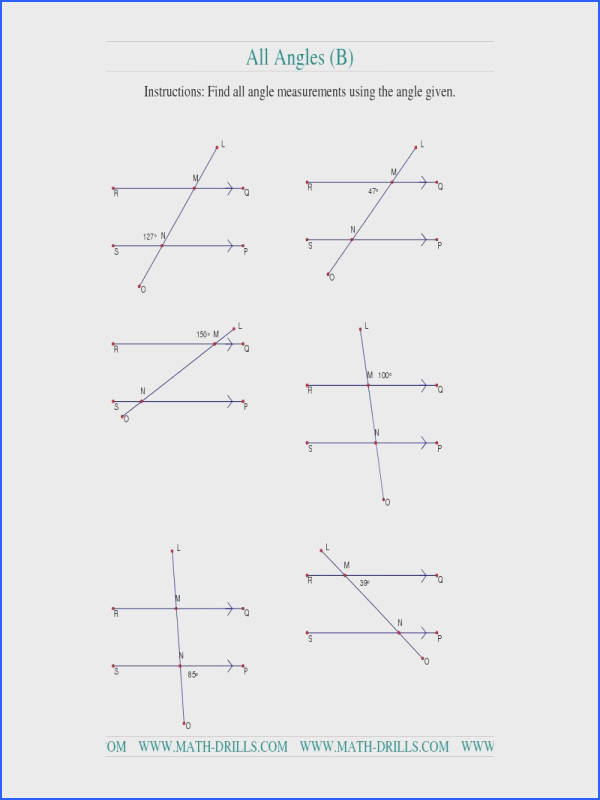 Geometry Worksheet Finding Angle Measurements b Teaching