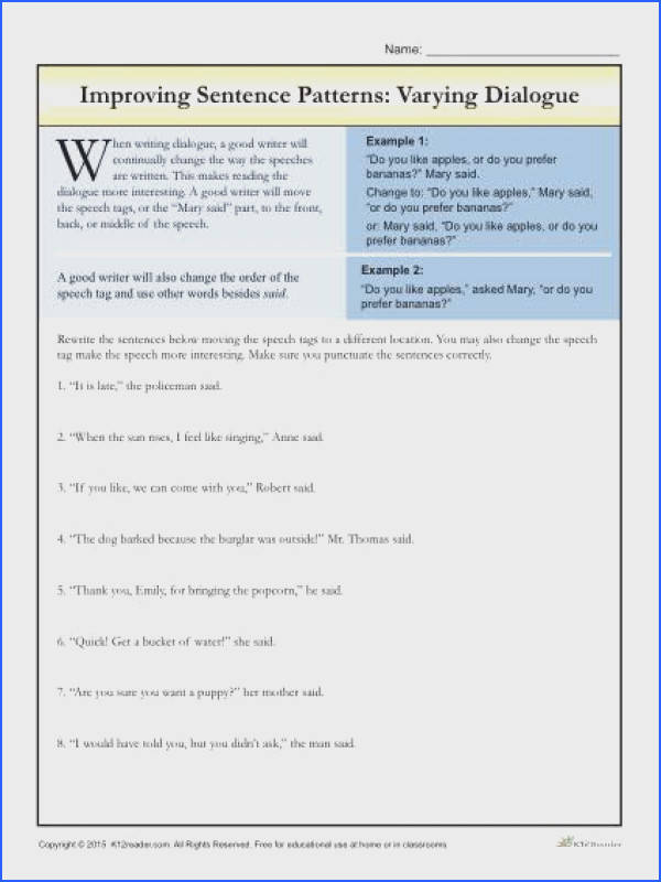 Improving Sentence Patterns Worksheet Activity Varying Dialogue Students rewrite the sentences by moving the