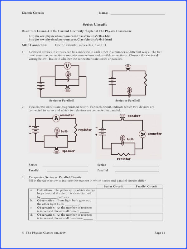 Series and Parallel Circuits Worksheet with Answers New Best Circuits In Physics Contemporary Electrical and Wiring