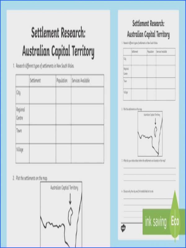 Settlement – Australian Capital Territory Research Worksheet Activity Sheet ACHASSK069 Year 3