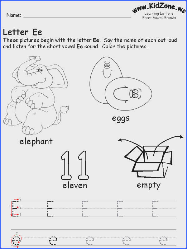 Short Ee Image Below Kidzone Worksheets