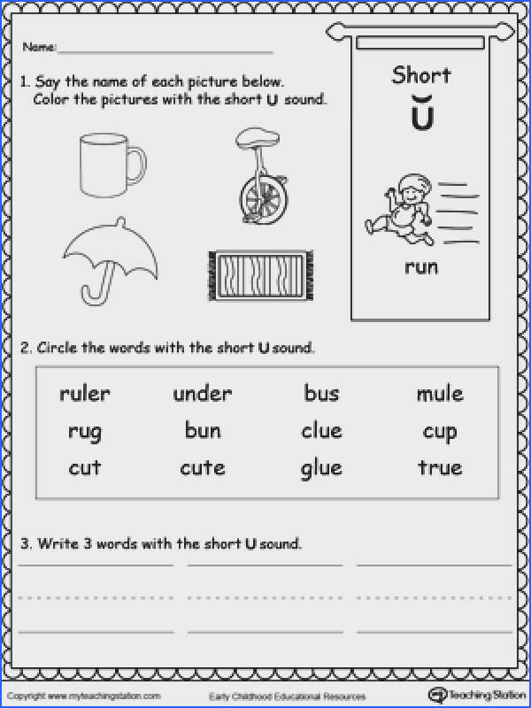 FREE Short U Sound Worksheet Practice recognizing the short vowel U sound with
