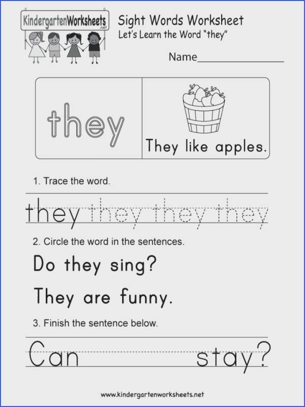 High Frequency Words Worksheets For Kindergarten They Sight Word Worksheet Printable Free Dolch Pdf 720