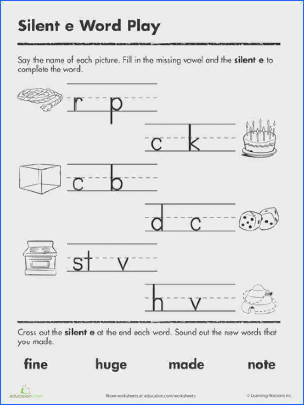 Silent Image Below Silent E Worksheets