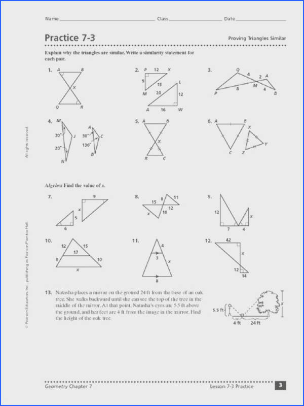 Worksheets for all Download and Worksheets Similar Triangles