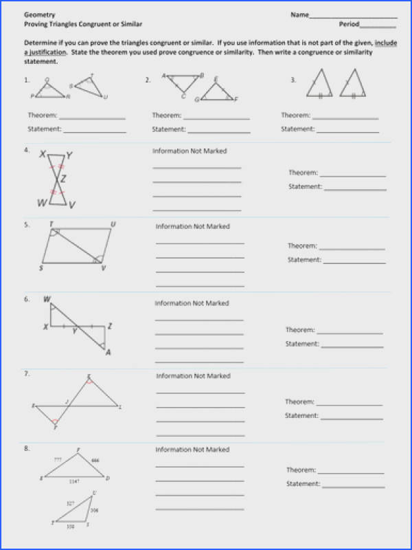 Similarity and Congruence Unit Proving Triangles Similar Congruent Worksheet by amyschander Teaching Resources Tes