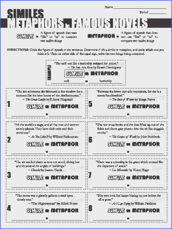 Simile Metaphor Worksheets