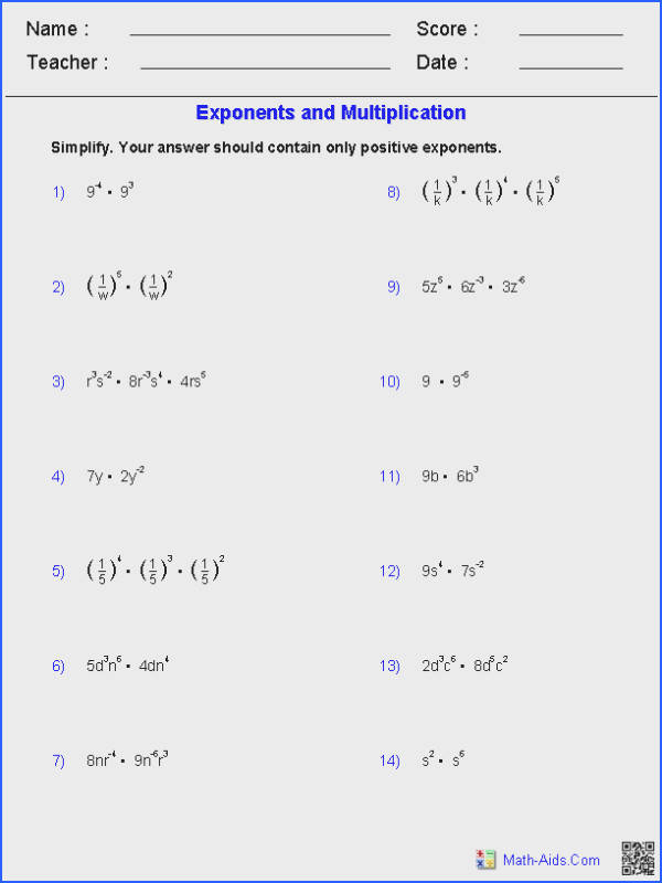 Exponents and Multiplication Worksheets