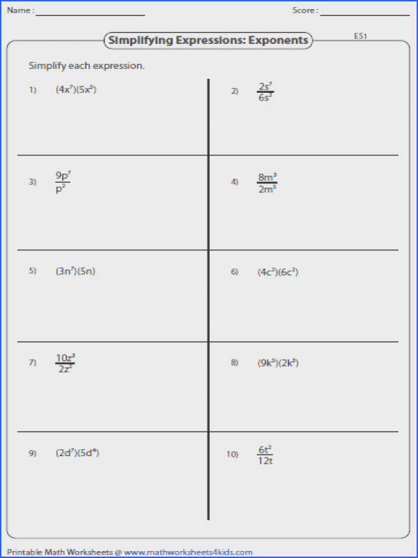 Simplifying Linear Expressions Simplifying Algebraic Expression Worksheets