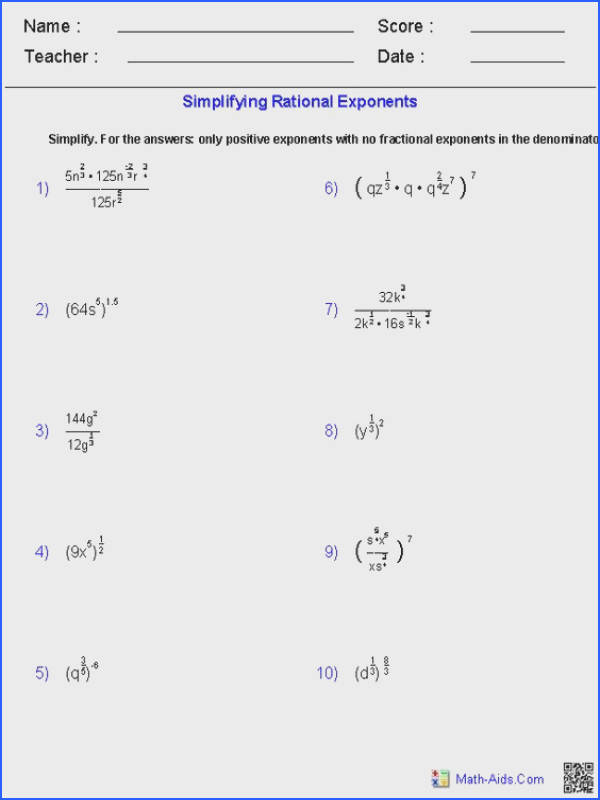 Best ideas about Exponent Equations Rational Exponent and Simplifying Rational Expressions Worksheets