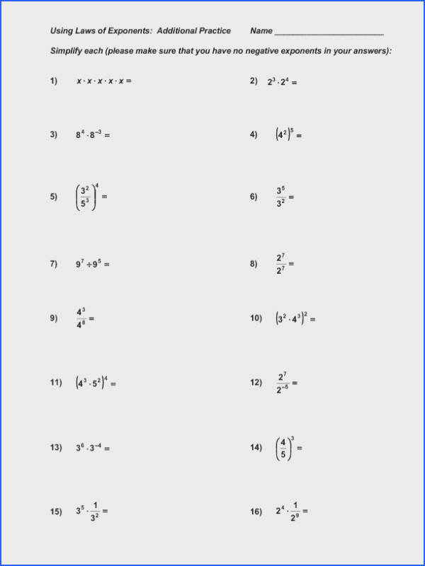 Exponents and Radicals Worksheets Simplify