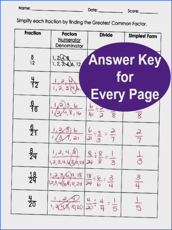 Simplifying Fractions with Greatest mon Factor Answer Key