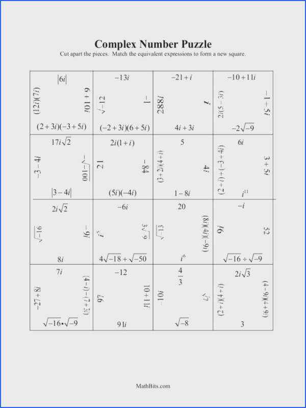 Simplifying Imaginary Numbers Worksheet Worksheets for all Download and Worksheets