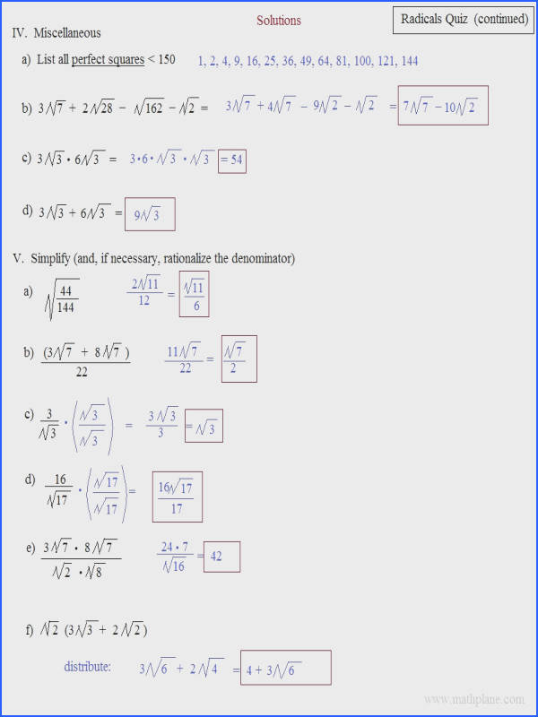 Simplifying Radical Expressions Worksheet Answers Worksheets for all Download and Worksheets