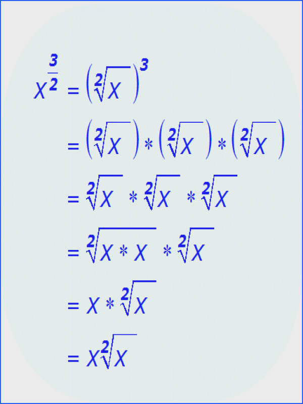 Math Fractional Exponent using variable pute the Square Root First example 4