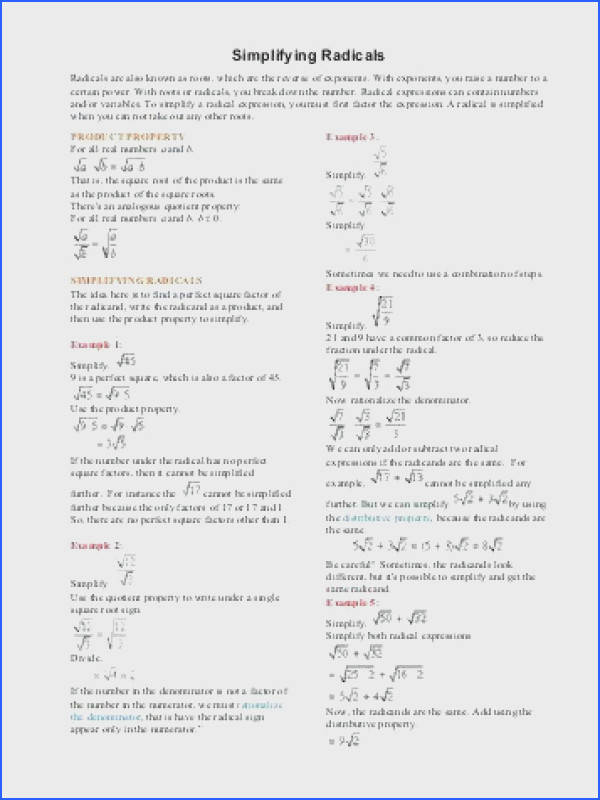 simplifying radicals worksheet for simplifying trig expressions worksheet with answers images inspiring simplifying radicals worksheet word