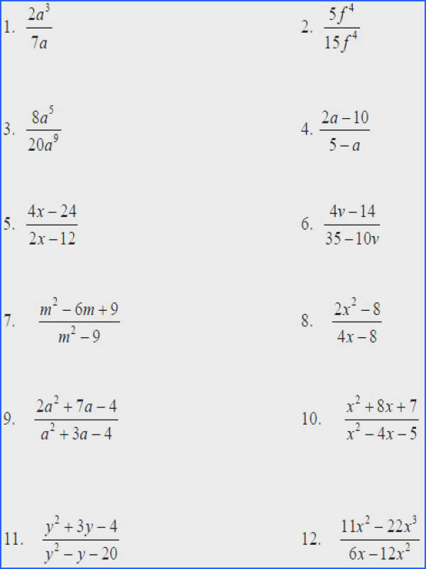 simplifying rational expressions worksheet