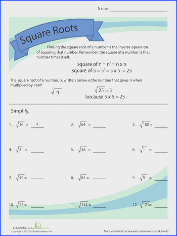 Simplifying Square Roots Worksheets Simplifying Square Roots