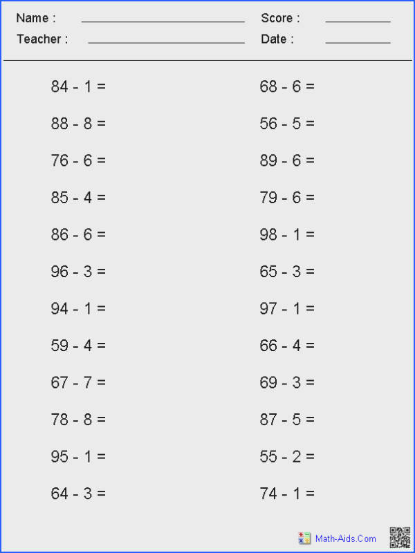 Single Digit Subtraction Worksheets For Worksheets for all Download and Worksheets