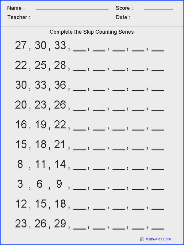 Skip Counting Kindergarten Worksheets