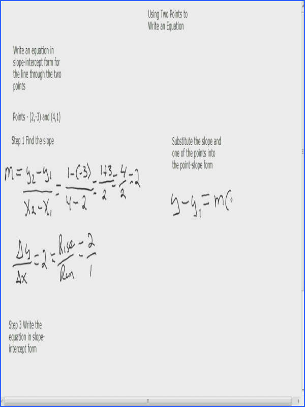 Writing An Equation In Slope Intercept Form Given Two Points And Write The Line That