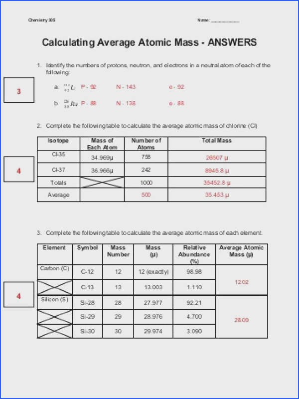 Average Atomic Mass Worksheet Answers Mychaume