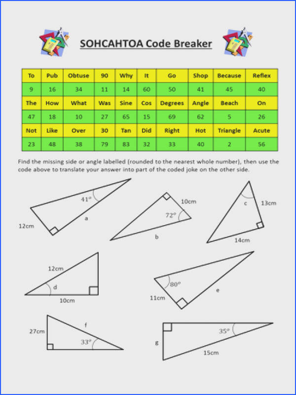 SOHCAHTOA Trigonometry Codebreaker by dannytheref Teaching Resources Tes