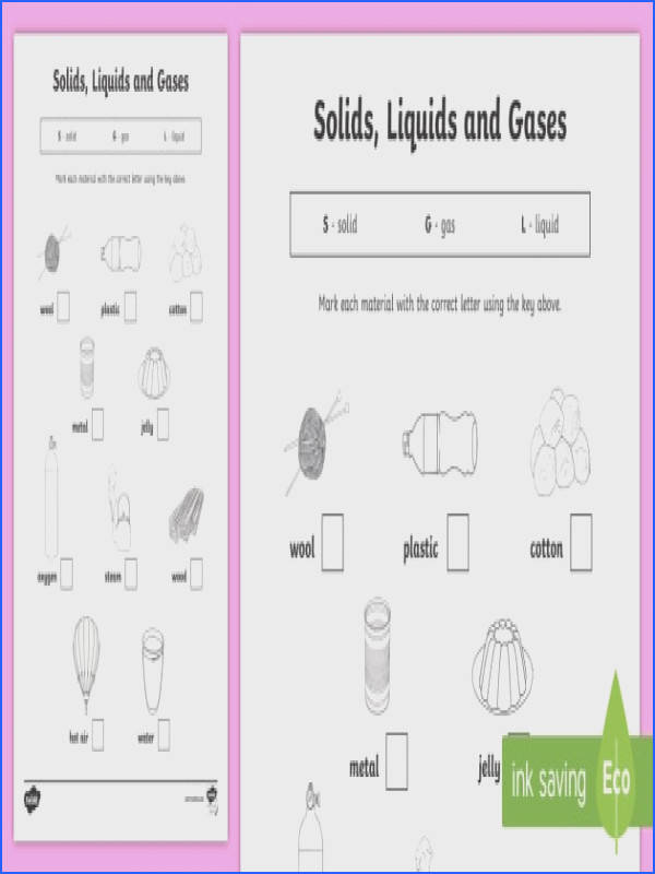 Solids Liquids and Gases Worksheet materials solids liquids and gases what things are