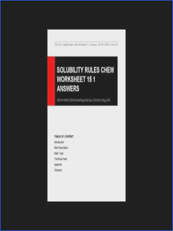 Solubility Rules Chem Worksheet 15 1 Answers