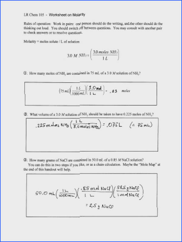 Molarity Worksheet Key