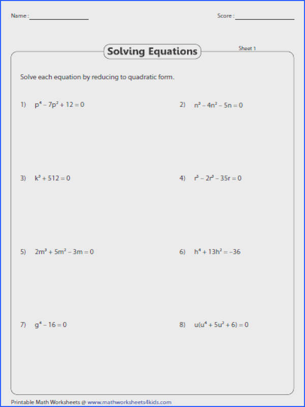 Solve higher degree equation using quadratic formula