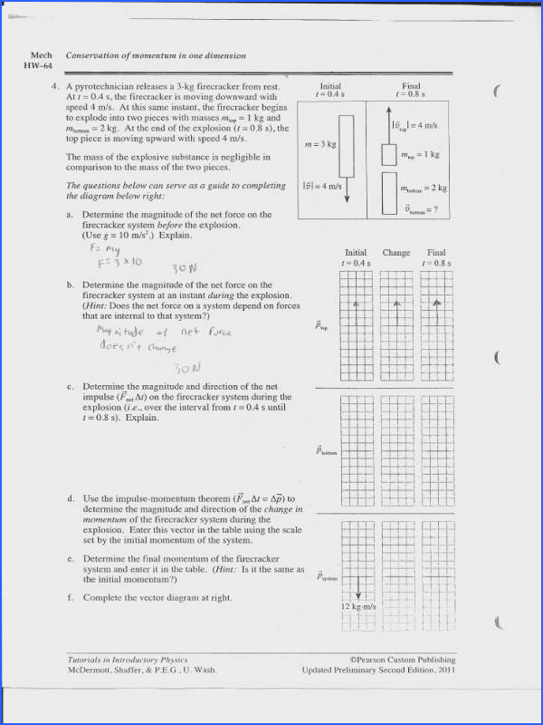 Please answer all quesitons Mech Conservation of momentum in one dimension HW