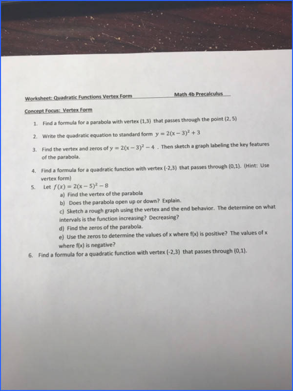Worksheet Quadratic Functions Vertex Form 1 Find a formula for a parabola with vertex