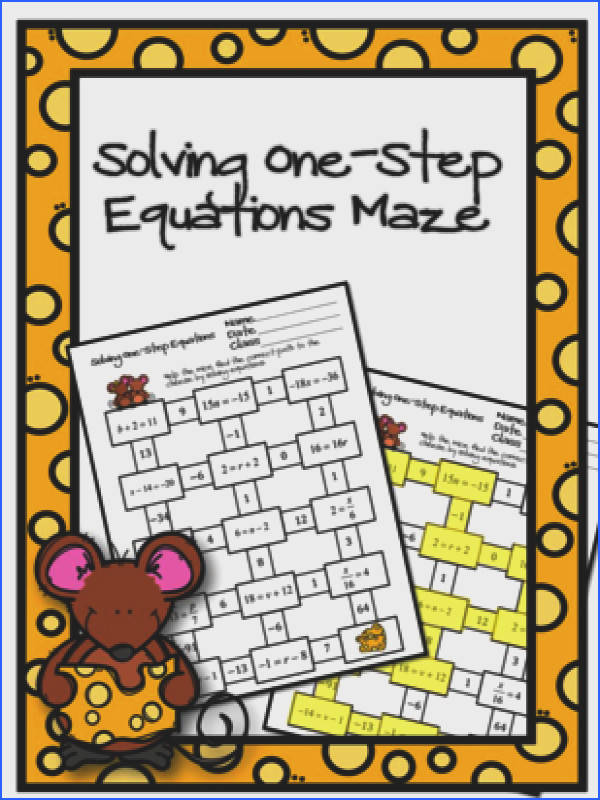 Solving e Step Equations Maze from Ayers Math Flares on TeachersNotebook