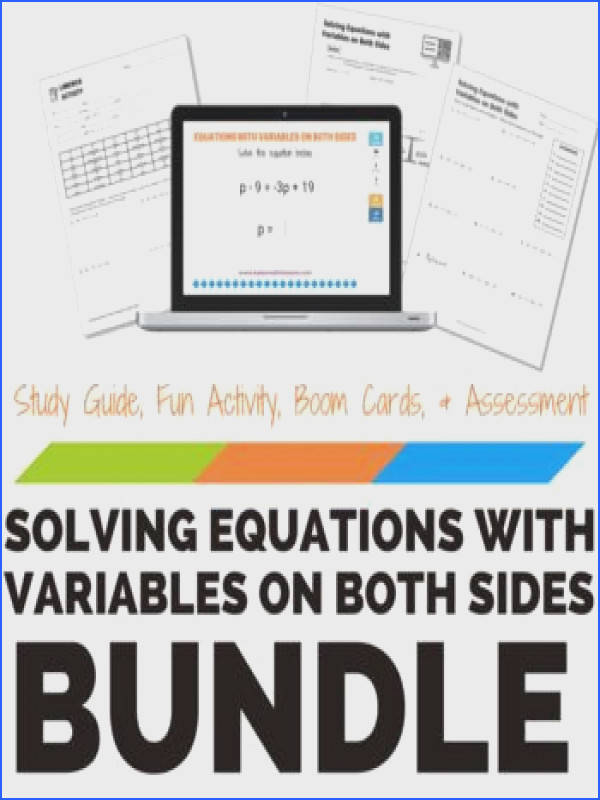 Solving Equations with Variables on Both Sides Bundle