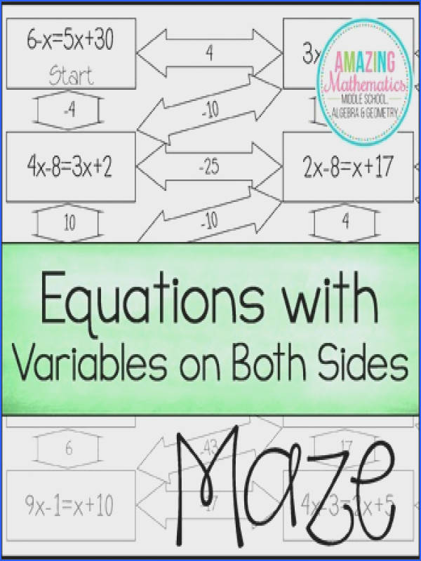 Solving Equations with Variables on Both Sides Maze