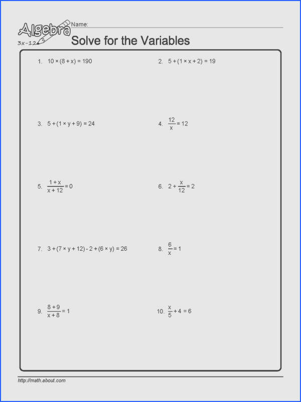 two step equation word problems worksheets source solve for the variables worksheet 1