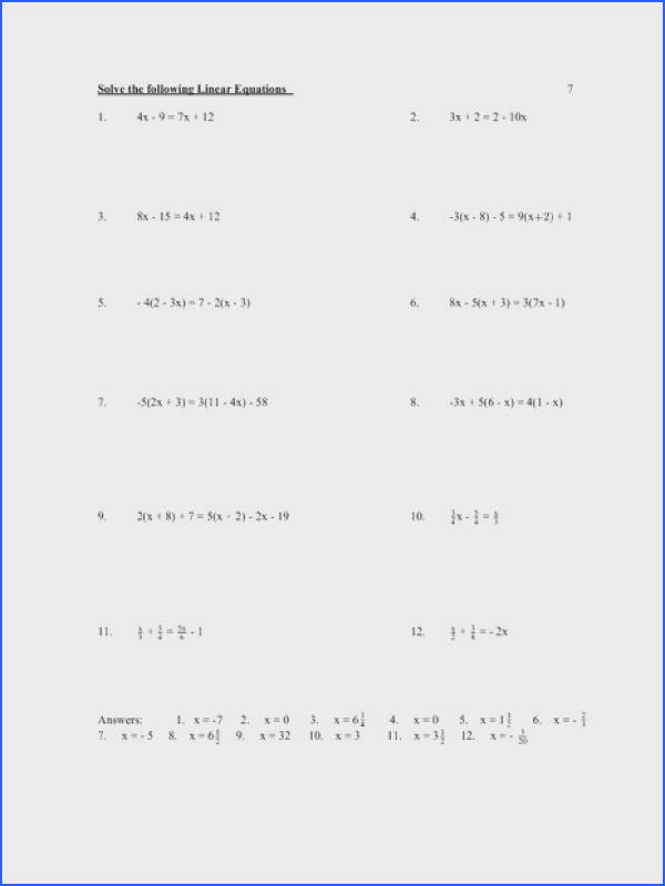 Worksheets Solving Equations Worksheet solving equations worksheets 9th grade intrepidpath linear worksheet lesson pla